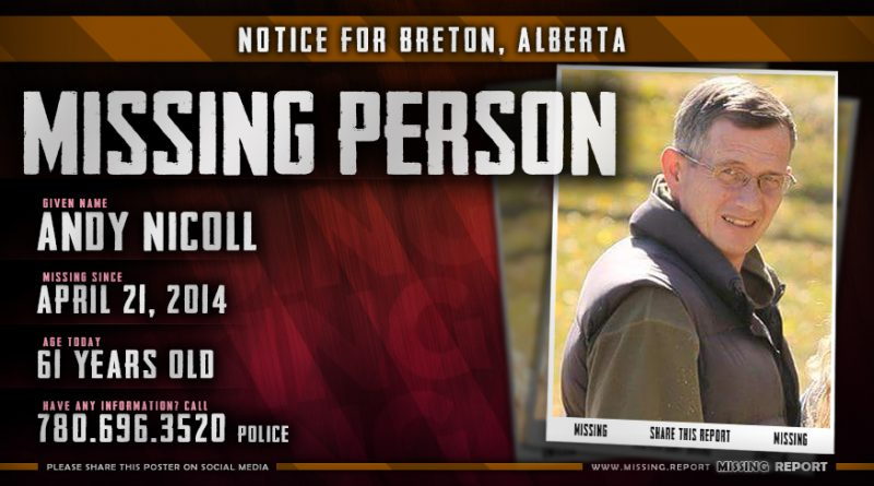 Andy Nicoll Missing Person Breton Alberta Canada Poster